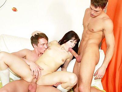 Super-naughty school schoolgirl penetrating at B-day party